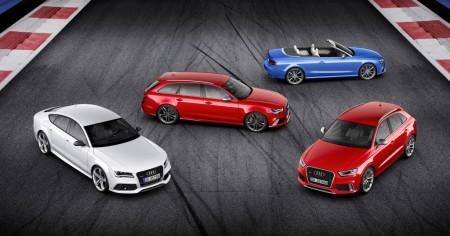 Die RS-Modelle gibt es nur mit quattro. von links: Audi RS 7 Sportback, RS 6 Avant, RS 5 Cabriolet, RS Q3, Foto: Audi