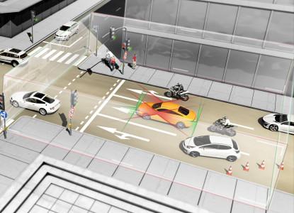 Surround-Kameras und Sensoren überwachen den seitlichen Verkehr, Foto: Continental