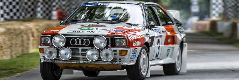 Der von Audi Tradition frisch restaurierte Audi Rallye quattro A2 aus der Weltmeister-Saison 1983 mit Hannu Mikkola am Steuer, Foto: Audi