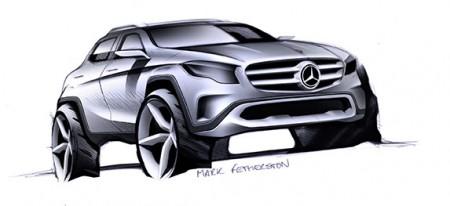Selbstbewusste Front und stark skulpturierte Flanken - Skizze: Mercedes-Benz