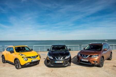 Nissan SUV-Modellpalette mit (von links) Juke Facelift, dem neuen Qashqasi und dem neuen X-Trail. Foto: Nissan